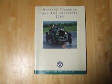 VINTAGE SPORTS-CAR CLUB MEMBERS YEARBOOK AND TIPS DIRECTORY 2003