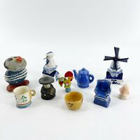 Lot of 10 Vintage Stone Pottery Porcelain Miniature Figurines Dollhouse Items