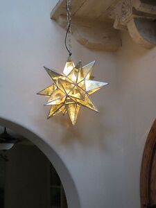 "Moravian Star -18"" antique gold mirror glass  18 point with SILVER trim"