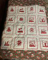 "Vintage Christmas Handsewn Quilt Lap Blanket 52"" X 48"""