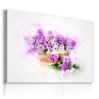 PAINTING DRAWING FLOWERS PURPLE LILAC PRINT Canvas Wall Art R112 MATAGA