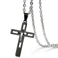 Hollow Design Black Cross Pendant Men's Retro Polished Stainless Steel Necklace