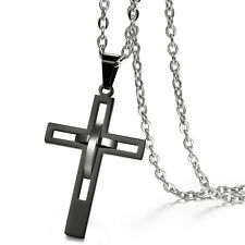 Hollow Design Black Cross Pendant Men's Retro Polished Stainless Steel Necklace