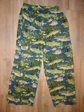 Joe Boxer Kids PJ Size L 10-12 Long Pants Sleepwear Game Fishing Salmon Trout
