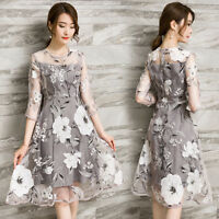 Korean Fashion Dress Organza Floral Gray Evening Cocktail Party Women Skirt