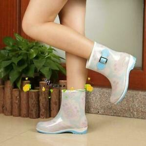 Korean Womens Rain Boot Waterproof Shoes Rubber Mid-calf Boots Hot Sale VICT
