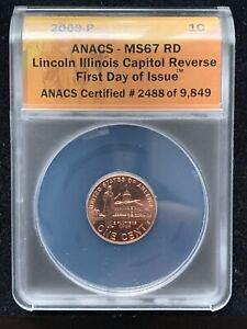 2009 P Lincoln cent Bicentennial Capitol Reverse Professional MS67RD FDOI ANACS