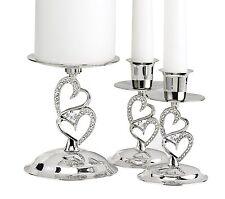 Sparkling Love Candle StandsHolder Set 3 Wedding Nickel Plated B Hewitt New