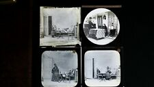 ANTIQUE LOT VICTORIAN MAGIC LANTERN GLASS SLIDE PHOTOGRAPHS X4 - GENRE / STRANGE