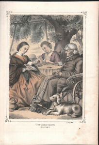 FOUR SISTERS  * GERMAN COLOURED PLATE ART LITHOGRAPH from 1850ies *