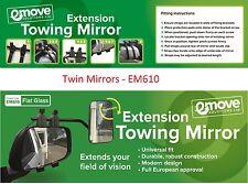 Pair,2 X Deluxe Extension Towing Flat Mirror-Caravan Wing Mirror EM610
