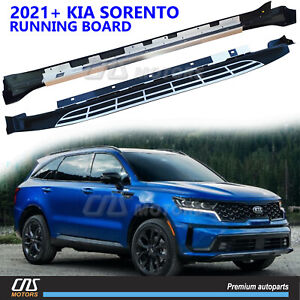 Fits 2021 2022 Kia Sorento Aluminum Running Board Side Steps Nerf Bar Protector