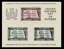 UNITED NATIONS- #38 -1955 IMPERF SOUVENIR SHEET OF 3. SUPERB-MNH- PO FRESH.