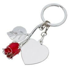 PERSONALISED SILVER PLATED ROSE KEYRING & HEART CHRISTMAS GIFT BIRTHDAY WEDDING