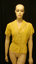 """40s VINTAGE """"A BLOUSE BEAUTY"""" CHARTREUSE PIN UP BLOUSE w LACE & RHINESTONES XXL"""