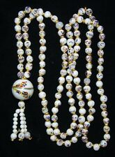 Vintage Multi Color Confetti Milk Glass Bead Strand Tassel Necklace