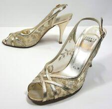 28d0bf7d51d Stuart Weitzman Womens Lace Strap Sandals Shoes Size 6.5 M Bridal Wedding  Gold