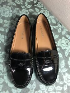 New Women's COACH ODETTE SHOES FLATS LOAFERS Patent Leather Black Sz 8B