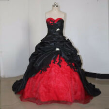 Gothic Black&White Wedding Dress Vintage Sweetheart A-Line Bridal Ball Gowns