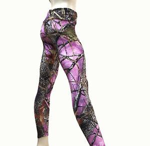 Pink Camo Pants Yoga Legging High Waist Fold Over Womens Pink Camouflage USA