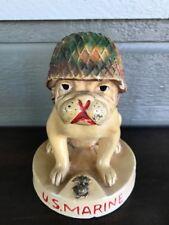 Vintage Chalkware U.S. Marine Corps Mascot Bulldog Devil Dogs WWII Era