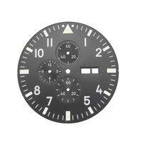 37.7mm Black Pilot's Watch Dial Fit Miyota Cal.0S00 Mov't Chronograph FULL LUME