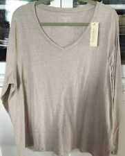 SONOMA WOMAN PLUS 2X SHIRT BLOUSE KNIT TOP long sleeve BEIGE V-neckline NEW TAGS