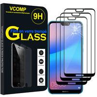 """3 Films Verre Trempe Protecteur Protection NOIR Huawei P20 Lite/ Nova 3e 5.84"""""""