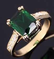 Fashion Jewellry Emerald 18K Gold Filled Womens Rare Anniversary Ring Size 7,8,9