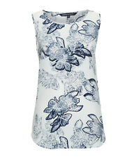 Sportscraft Isadora Silk Print Top Size 8 Blue Floral Sleeveless Work Evening