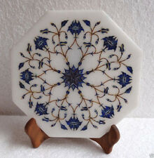 "8"" White Marble Plate Serving Lapis Lazuli Handmade Pietra Dura Kitchen Decor"