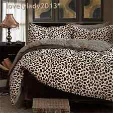 Leopard Print Queen Size Bed Quilt/Doona/Duvet Cover Set 100% Cotton 4PCS  New