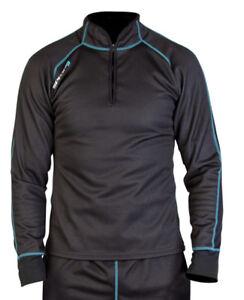 SPADA Chill Factor2 Windproof Thermal Long Sleeved Mens Fleece Lined Shirt Black