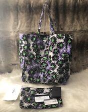 NWT Authentic PRADA Floral Print reversible Nylon Shopper Tote Bag Purple Green