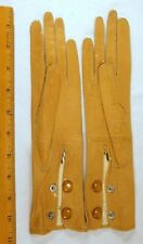 """Antique Leather Kid Gloves Tan 2 Snaps France 10"""" x 2 1/2"""" (#3)"""