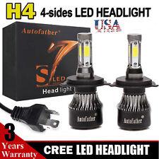 2Pcs H4 HB2 9003 4-Sides LED Hi/Low Beam Bulb 240W DRL Headlight Kit 24000LM USA