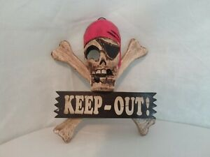 Wall plaque and sign, pirate sign, keep out, childrens room, handpainted on woo
