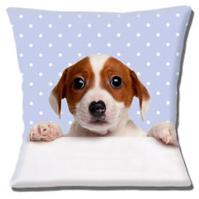 "NEW CUTE BROWN WHITE JACK RUSSELL PUPPY PALE BLUE WHITE 16"" Pillow Cushion Cover"