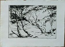 Robert Fulton Logan Etching, Untitled Seaside Landscape, Pencil Signed