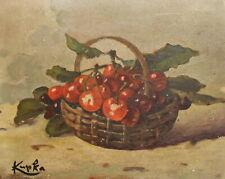 Antique Czech Art Nouveau oil painting still life, signed Kupka