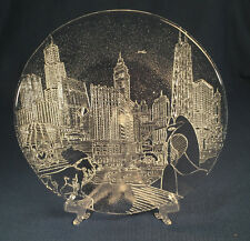 Chicago Skyline Hand Blown Party Platter by Pilgrim Glass for Marshall Fields