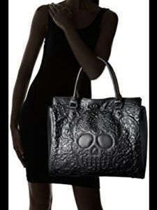 Lounge Fly Black Lattice Skull Double Strap Faux Leather Oversized Tote Bag