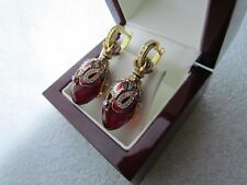 GARNET EARRINGS HANDMADE RUSSIAN SOLID STERLING SILVER 925 24 K GOLD PLATED