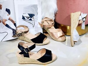 New Women Platform Wedge High Heel Shinny Espadrille Sandals Summer Shoes Sizes