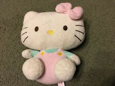 Ty 2011 Hello Kitty Stuffed Plush Beanie Baby Pluffies Pink Overalls Bow 8""