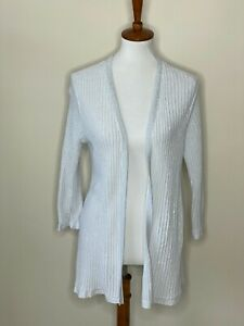 Chico's Size 2 Silver Ribbed Long Sleeve Glitter Open Front Sweater Women's Gray