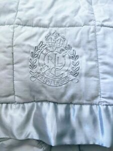LAUREN RALPH LAUREN Quilt Coverlet Light Blue Cotton Satin Trim Embroidered Labe
