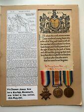 Original WW1 1914/15 Star Medal Trio, South Wales Borderers., KIA, Casualty
