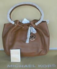MICHAEL KORS MD BROWN LEATHER LARGE SHOULDER RING TOTE BAG PURSE NWT $298.00