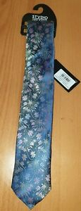 Jeff Banks Mens Purple Blue Floral Design STVDIO Silk Tie New With Tags RRP £20